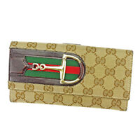 Gucci Wallet Purse Long Wallet GG Beige Brown Woman unisex Authentic Used T3694