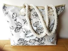 LARGE BEACH BAG FLOWER DESIGN Cream Tote Shoulder Handbag Travel Holidays