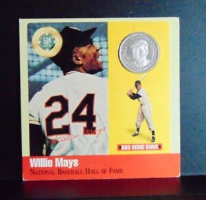 WILLIE MAYS SAN FRANCISCO GIANTS .999 FINE SILVER ROUND COIN & HOF LEGENDS CARD
