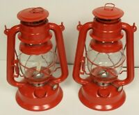 NEW SET OF 2 HURRICANE LANTERNS KEROSENE LAMP Camping Emergency Lighting Red