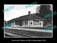 OLD LARGE HISTORIC PHOTO OF GREENCASTLE INDIANA, THE RAILROAD DEPOT STATION 1920