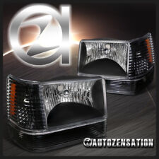 93-96 Jeep Grand Cherokee Crystal Black Headlights+Bumper Lights+Corner Lamps
