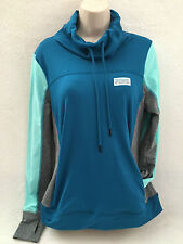 VICTORIA'S SECRET PINK ULTIMATE HIGH NECK PULLOVER HOODIE / CREW,TEAL/GRAY MED
