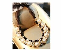 Fashion Jewelry Crystal Women Choker Bib Chain Pendant Necklace Statement Pearl