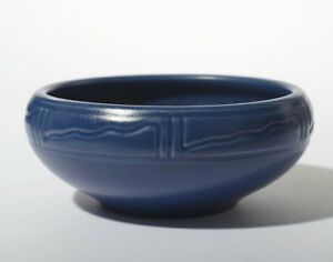 Arts & Crafts Keramik Schale blau m. Wellen Design Rookwood Pottery Z Linie 1903