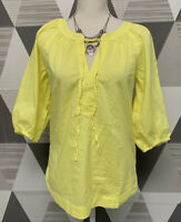 Ann Taylor LOFT Women's XS Yellow V-Neck 3/4 Sleeve Peasant Top Blouse #9C65