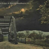 NY Woodbourne Metal Truss Bridge $5 Fine Sign River Night View Postcard c1913