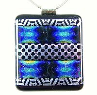 DICHROIC Fused Glass Silver PENDANT Slide Blue Black Pink Gold Striped Patterned