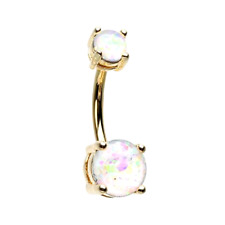 14G PRONG SET DOUBLE WHITE OPAL GOLD TITANIUM IP STEEL NAVEL BELLY RING BARBELL