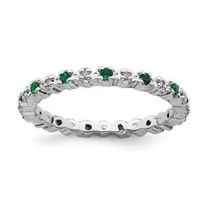 Platinum Sterling Silver Green Emerald Diamonds Eternity Stackable Band Ring Sz7
