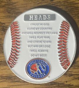 White Baseball Little League Pledge Umpire Flip Coin