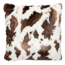 "PONY HORSE FAUX FUR FAUX SUEDE BROWN CREAM CUSHION COVER 20"" - 50CM KT030.044"