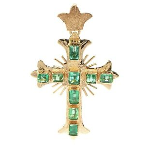 18K Yellow Gold Colombian Emerald Cross Pendant 40.0mm X 28.5mm