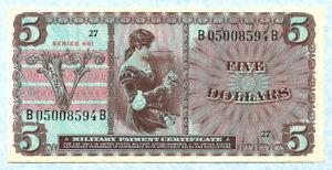 UNITED STATES MPC 5 Dollars 1968 M69 AU