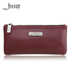 Jessup Cosmetic Storage Makeup Bag Organizer Pouch Zipper Plum Red Travel Case