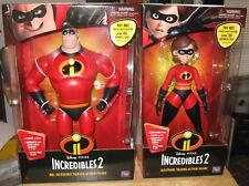 """Disney/Pixar Incredibles 2 Talking Mr. Incredible & Elastigirl 13"""" Figure NIP"""
