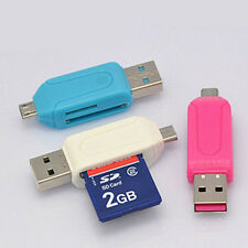 Micro USB OTG to USB 2.0 Adapter SD/Micro SD Card Reader For Smartphones/PC UK