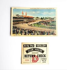 1950 Kentucky Derby Clubhouse Return Check and Churchill Downs postcard
