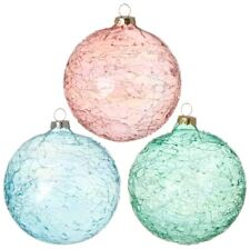 "3722813 RAZ Set/2 4"" Threaded Crackle Glass Ball Christmas Ornament Nautical Sea"