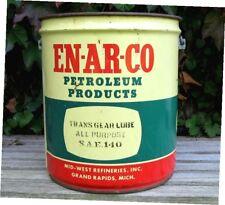 """1956 Vintage EN-AR-CO """"TRANS GEAR LUBE SAE 140"""" 5 Gal. METAL OIL CAN/BUCKET"""