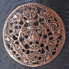 HAGAL Fibel Gewandspange aus BRONZE Wikinger Mittelalter Scheibenfibel groß