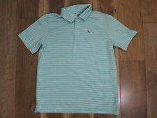 Vineyard Vines Boy's Green/White Striped Polyester/Spandex Polo Shirt Sz L 16