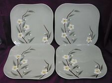 Vintage  1952 California Weilware Malay Blossom Celadon Set 4 Dinner Plates