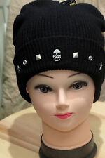 Wollmütze schwarz mit Totenkopf Beanie HipHop Glitzertotenkopf schwarz strass
