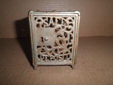 """New ListingGreat old original cast iron """"Safe Deposit"""" key safe still bank, Shimer c.1899"""