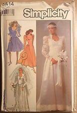 Vintage Simplicity Pattern # 8414, Brides' & Bridesmaids Dresses, SZ 12 ~ 1987