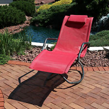 Sunnydaze Outdoor Folding Rocking Chaise Lounger with Headrest Pillow - Red