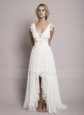 Vintage Lace Boho Wedding Dress 2017 Chiffon V-Neck High Low Beach  Bridal Gowns