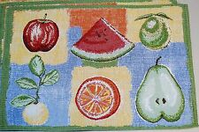 Set of 4 - Tapestry Table Placemats - Fresh Fruit Apple Pear Orange Watermelon
