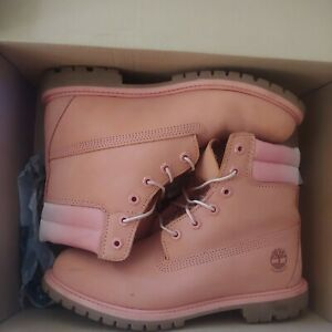 """Timberland Pink Women's Nubuck Leather Ombre 6"""" Boot Bootie Combat"""