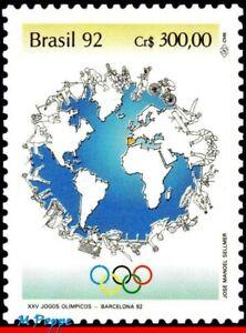 2359 BRAZIL 1992 SUMMER OLYMPICS GAMES, BARCELONA, GLOBE, BIKE, MI# 2464, MNH