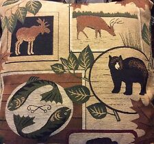 "Lodge Cabin Bear Moose Buffalo Fish Pillow Beautiful Throw Pillow 25"" X 25"" NEW"