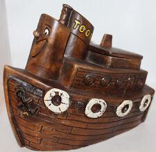 Toot the Tug Boat Cookie Jar Treasure Craft Melody Time Disney 9x11 Ceramic