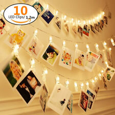 1.2M 10 LED Photo Peg Clip LED Fairy String Light Wedding Hanging Picture Decor