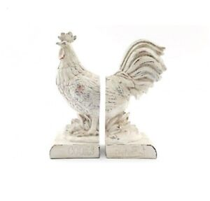 Bookends/Book Ends - Rooster/Chicken - Resin - Shabby Chic