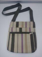 Thirty One Canvas Tote Bag Crossbody Purse Purple Strips