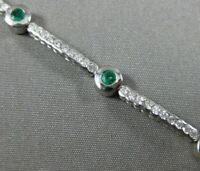 ESTATE 2.30CT DIAMOND & EMERALD 14K WHITE GOLD 3D ETOILE CLASSIC TENNIS BRACELET