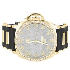 Techno Pave Watch Gold Tone Silver Illusion Dial Stainless Steel Back Iced Out
