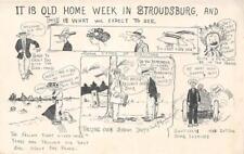 """""""Old Home Week"""" Stroudsburg PA Cartoon Artist-Signed Comic 1910 Vintage Postcard"""