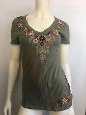 Johnny Was JWLA Embroidered Short Sleeve Shirt Popover Top Birds Flower Boho