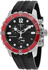 NWOT Mens Tissot Seastar Chronograph T0664171705701 Black Dial Red Bezel Watch