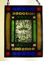 Green man stained glass window hanging