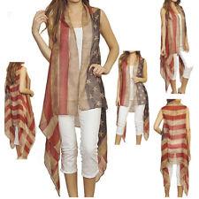 Vintage Kimono Ruana USA AMERICAN FLAG Scarf Long Shawl wrap Star Poncho