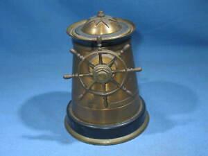 "Antique Brass 5"" Tall Nautical Ship Wheel / Lighthouse Ashtray"