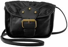 Lorenz Real Leather Very Small Shoulder Cross Body Bag With Buckle Detail Black