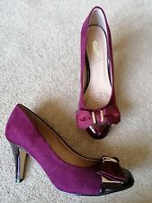 Dorothy Perkins Burgundy Court Shoes Suede Patent Uk Size 6